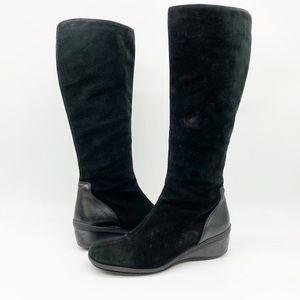 Aquatalia Minnow Wedge Black Suede Tall Boot 8.5